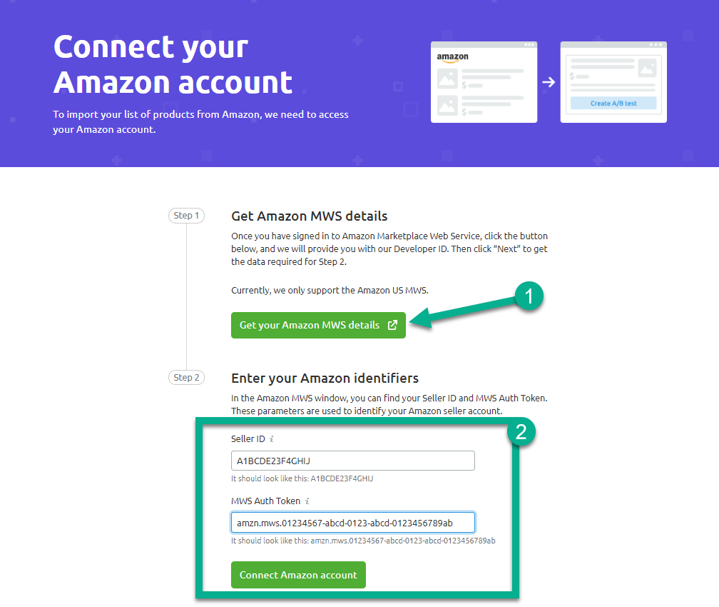 How to connect Amazon Seller account for split testing